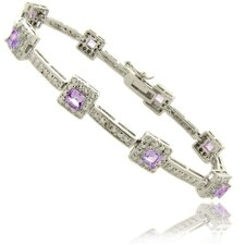 Silver Overlay 2.70 Carat TW Sapphire Square Bracelet