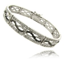 Silver Overlay 1 Carat TW Black and White Diamond Infinity Design Bracelet