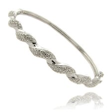 Silver Overlay and Diamond Accent Twist Bangle