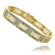 Gold Overlay 1/4 Carat TW Diamond Greek Key Design