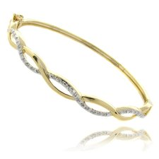 Gold Overlay and Diamond Accent Infinity Bangle