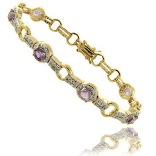 Gold Overlay 3.50 Carat TW Garnet Link Bracelet
