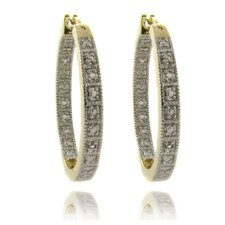 Silver Overlay and Diamond Accent Hoop Earrings