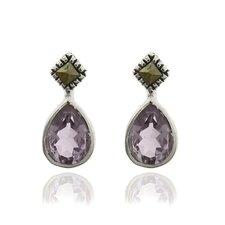 Silver Overlay Gemstone and Marcasite Teardrop Stud Earrings