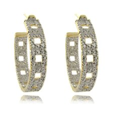 Gold Overlay and Diamond Accent Square Design Hoop Earrings
