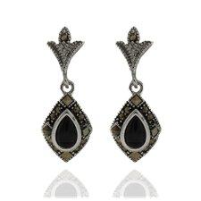 Silver Overlay Marcasite and Black Onyx Teardrop Dangle Earrings