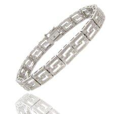 Silver Overlay Diamond Accent Greek Key Design Bracelet