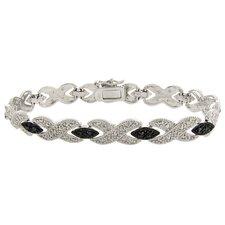 Silver Overlay Black and White Diamond Accent 'X' Bracelet
