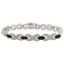 Silver Overlay Diamond Accent Black and White XOXO Bracelet