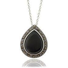 Silver Overlay Marcasite and Black Onyx Teardrop Pendant