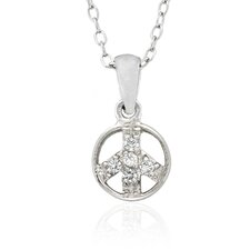 Sterling Silver Cubic Zirconia 'PeaceSign' Necklace