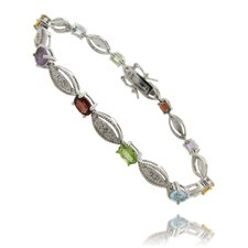 <strong>Gem Jolie</strong> Multi Gemstone and Diamond Accent Marquise Design Bracelet