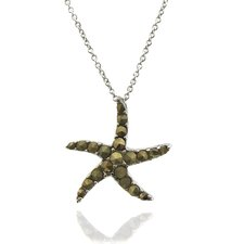 Silver Overlay Marcasite Starfish Pendant Necklace