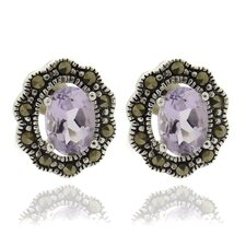<strong>Gem Jolie</strong> Silver Overlay Marcasite and Oval GemstoneStud Earrings