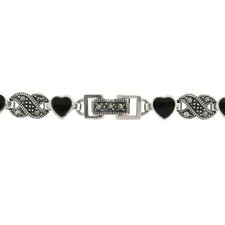Silver Overlay Marcasite and Black Onyx Heart Bracelet