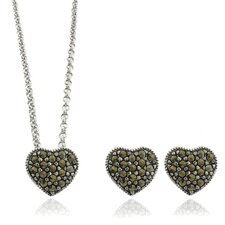 Silver Overlay Marcasite Heart Pendant and Earrings Set