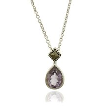 <strong>Gem Jolie</strong> Silver Overlay Marcasite and Gemstone Teardrop Pendant Necklace