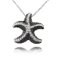 Silver Overlay Diamond Accent Black and White Star Fish Necklace