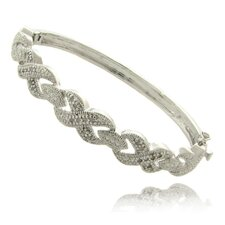 Silver Overlay 1/4 Carat TW Diamond XO Bangle