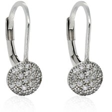 Sterling Silver Cubic Zirconia Circle Leverback Earrings
