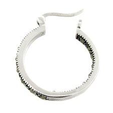 Silver Overlay Marcasite Hoop Earrings