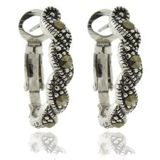 <strong>Gem Jolie</strong> Silver Overlay Marcasite Twisted Omega Hoop Earrings