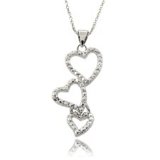 Silver Overlay Diamond Accent Hearts Drop Necklace