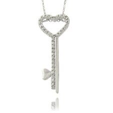 Silver Overlay Diamond Accent Heart Key Necklace