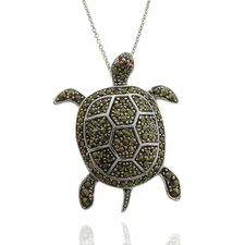 Silver Overlay Marcasite and Cubic Zirconia Turtle Pendant Necklace