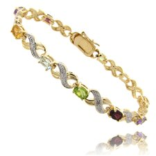 Gold Ovelay Blue Topaz ,Sapphire, and Diamond Accent XO Design Bracelet