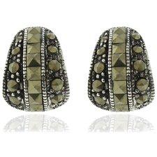 Silver Overlay Marcasite Stud Earrings