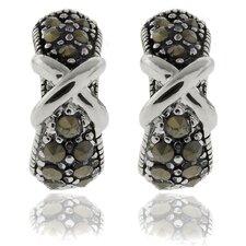 "Silver Overlay Marcasite ""X"" Omega Hoop Earrings"