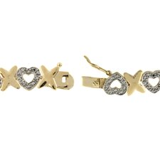 <strong>Gem Jolie</strong> Gold Overlay Diamond Accent Heart Bracelet