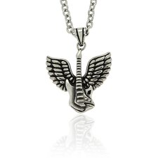 StainlessSteel 'Guitar Guardian Angel' Pendant