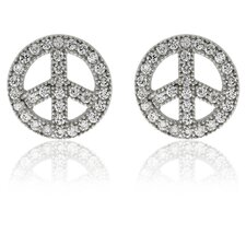 Sterling Silver Cubic Zirconia 'Peace Sign' Stud Earrings