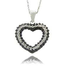 Silver Overlay Diamond Accent Black and White Heart Necklace