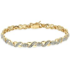 Gold Overlay Diamond Accent XOXO Bracelet