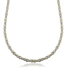 Two-tone Diamond Accent 20-inch 'XO' Necklace