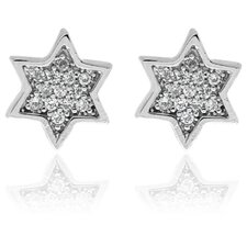 Sterling Silver Cubic Zirconia Star Stud Earrings