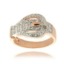 <strong>Gem Jolie</strong> Rose Gold Overlay Diamond Accent Buckle Design Ring