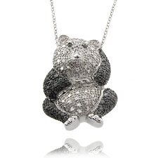 Silver Overlay Diamond Accent Black and White Panda Necklace