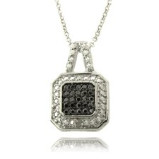Silver Overlay Diamond Accent Black and White Square Necklace