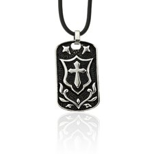 Stainless Steel 'Knight's Cross' Tag Pendant