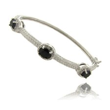 Diamond Accent Gemstone 3Stone Bracelet