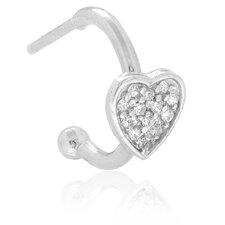 Sterling Silver Cubic Zirconia Heart Dangle Earrings