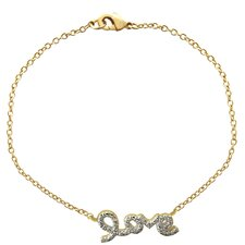 18k Gold Overlay Diamond Accent Love Bracelet