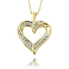 14k Yellow Gold Overlay Diamond Accent Heart Necklace