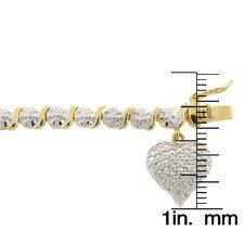 Gold Overlay Diamond Accent 'S' Design Heart Charm Bracelet