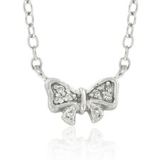 Sterling Silver Cubic Zirconia Bow Necklace