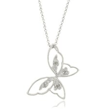 Silver Diamond Butterfly Necklace in White, Yellow or Rose